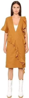 Maison Margiela Ruffled Cotton Blend Poplin Dress