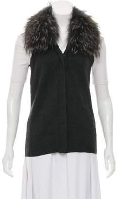 Diane von Furstenberg Fur-Trimmed Wool Vest grey Fur-Trimmed Wool Vest