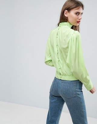 Asos Design Long Sleeve Blouse with Button Back