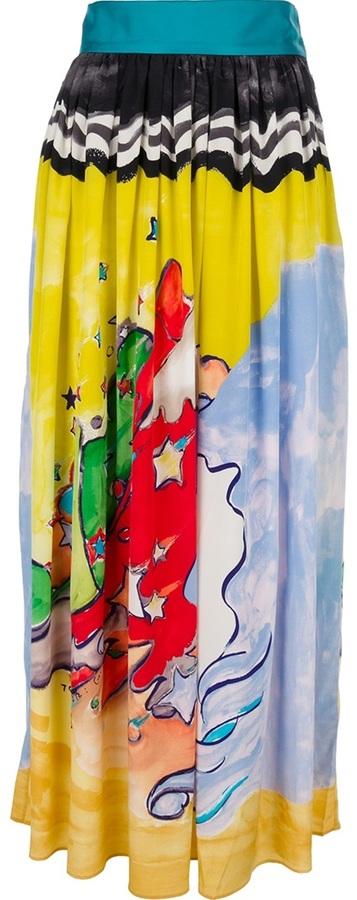 Tsumori Chisato printed pleated maxi skirt