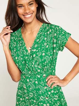 Very Wrap Button Skirt Tea Dress - Print