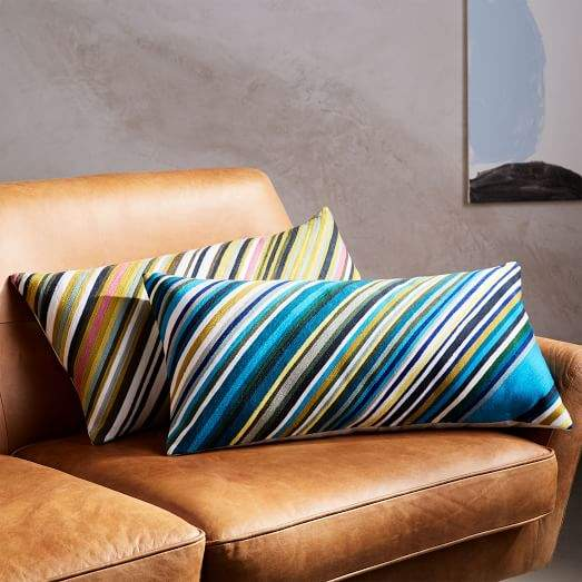 Crewel Diagonal Stripe Pillow Cover