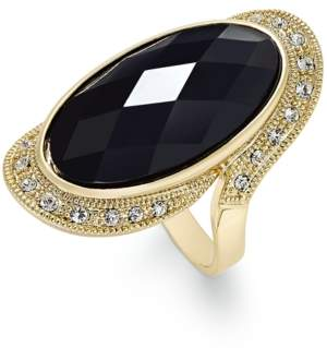 INC International Concepts I.n.c. Gold-Tone Large Jet Stone and Pave Statement Ring, Created for Macy's