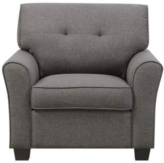 Emerald Home Clarkson Charcoal Brown Accent Chair with Button Tufting, Self Welting, And Rolled Arms