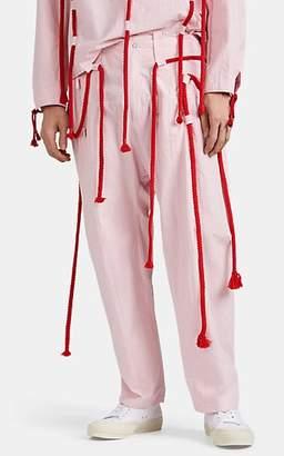 Craig Green Men's Drawstring-Detailed Cotton Poplin Trousers - Pink