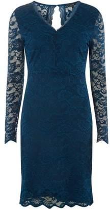 Dorothy Perkins Womens **Vero Moda Blue V-Neck Lace Bodycon Dress