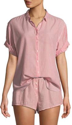 Xirena Channing Striped Short-Sleeve Cotton Lounge Shirt