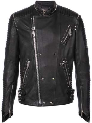 Philipp Plein stud detail leather jacket
