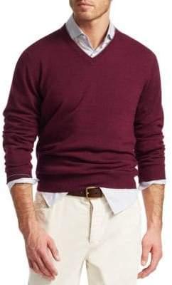 Brunello Cucinelli Men's Cashmere V-Neck Sweater - Wine - Size 52 (42)