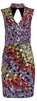 Alice + Olivia Women's Dumont Sequin Choker Dress