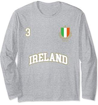 Ireland Soccer Team Long Sleeve Shirt Number 3 Sports Tee