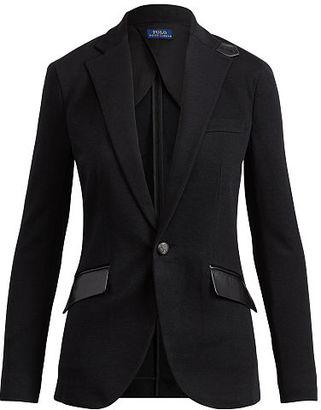 Polo Ralph Lauren Leather-Trim Cotton Blazer $398 thestylecure.com