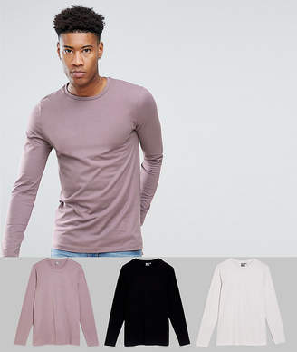 Asos Tall Long Sleeve T-Shirt With Crew Neck 3 Pack Save