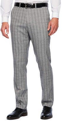 Jf J.Ferrar Plaid Slim Fit Stretch Suit Pants