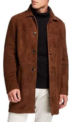 Ajmone Men's Shearling-Lined Suede Coat