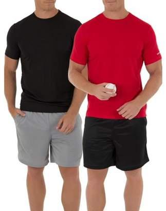 Athletic Works Men's Core Quick Dry Short Sleeve Tee, 2 pack bundle