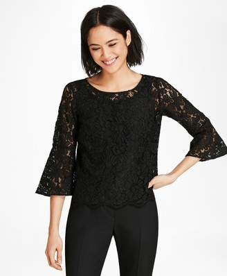Brooks Brothers Floral Lace Bell Sleeve Blouse