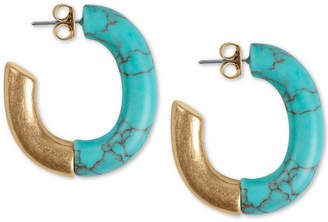 """Lucky Brand Gold-Tone Imitation Turquoise Half 1-9/10"""" Large Hoop Earrings"""