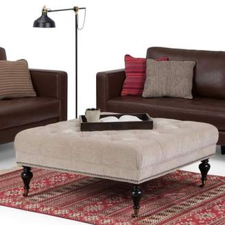 Marcus Collection Simpli Home Large Square Coffee Table Ottoman