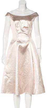 Lela Rose Metallic A-Line Dress