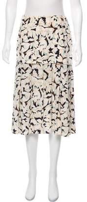 Les Copains Silk Floral Print Skirt