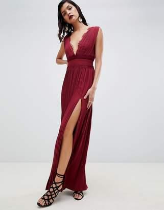 Asos Design DESIGN PREMIUM Lace Insert Pleated Maxi Dress