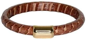 Kenneth Jay Lane Snake Leather Bangle Bracelet - Brown