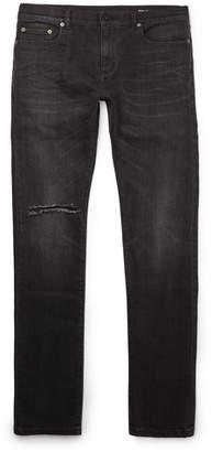 Saint Laurent Skinny-Fit 15cm Hem Distressed Stretch-Denim Jeans