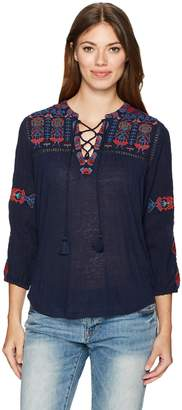 Lucky Brand Women's Lace Up Embroidered Top