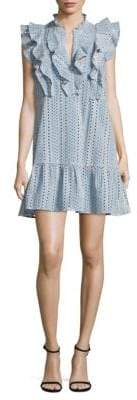 BCBGMAXAZRIA Ruffled Cotton A-Line Dress