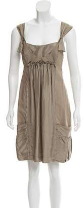 Philosophy di Alberta Ferretti Silk Scallop Accented Mini Dress