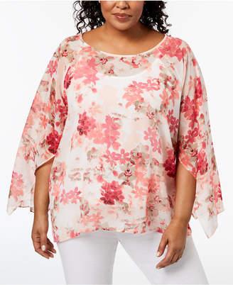 Calvin Klein Plus Size Printed Kimono-Sleeve Blouse, Created for Macy's