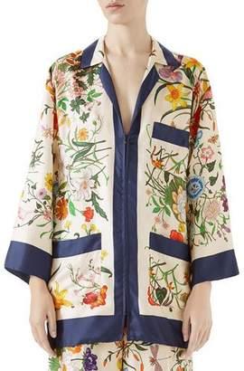 Gucci Floral-Print Zip-Front Silk Twill Pajama Top