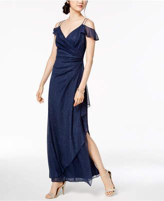 Alex Evenings Draped Cold-Shoulder Glitter-Embellished Dress