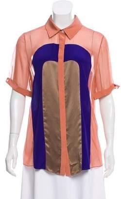 Jason Wu Colorblock Silk Button-Up