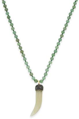 Paul & Pitu Naturally Gold-Tone Beaded Horn Pendant Necklace