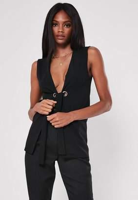 Missguided Black Sleeveless Tie Waist Blazer
