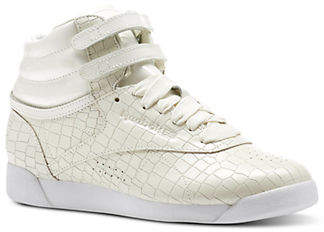 Reebok Womens Freestyle Hi-Crackle Leather Sneakers