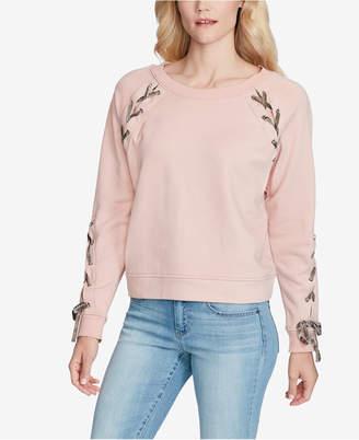 Jessica Simpson Juniors' Kiana Lace-Up Velvet-Trimmed Sweatshirt
