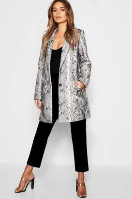 boohoo Snakeskin Wool Look Coat