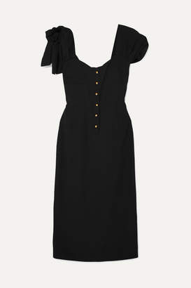 Prada Bow-embellished Crepe Midi Dress - Black