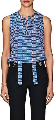 Derek Lam Women's Lace-Up Mixed-Stripe Silk Blouse
