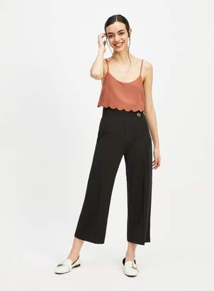 Miss Selfridge Black D-ring Crop Wide Leg Trousers
