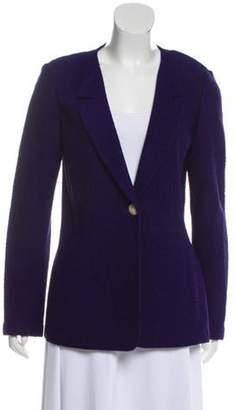 St. John Collarless Wool-Blend Blazer Purple Collarless Wool-Blend Blazer