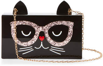 Jessica McClintock Black Cool Cat Acrylic Box Clutch