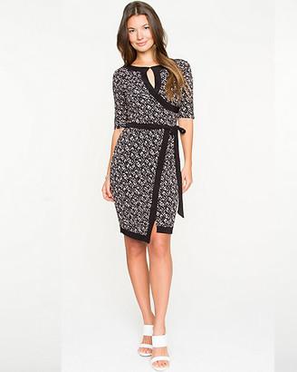 Le Château Geo Print Knit Faux-Wrap Dress