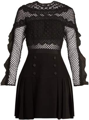 Self-Portrait Bellis guipure-lace and pleated-crepe dress