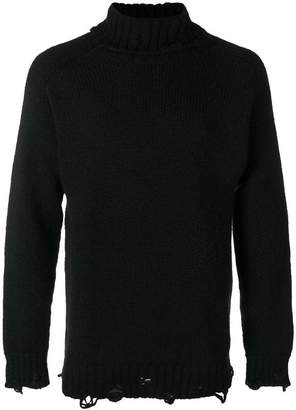 Maison Flaneur ripped turtleneck sweater