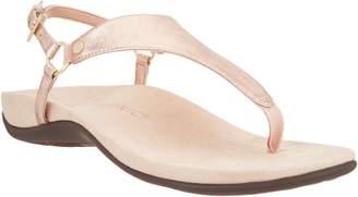 Vionic Leather T-Strap Sandals - Kirra Metallic