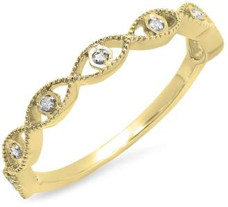 DazzlingRock Collection 0.05 Carat (ctw) 14K Rose Gold Round White Diamond Ladies Anniversary Wedding Stackable Band (Size 8)